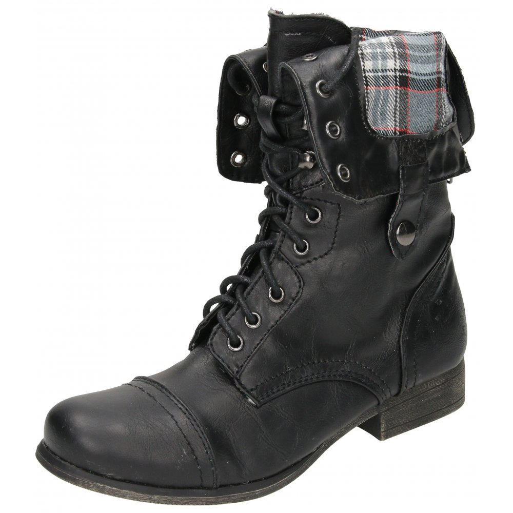 Flat Boots Military Combat Lace Up Zip