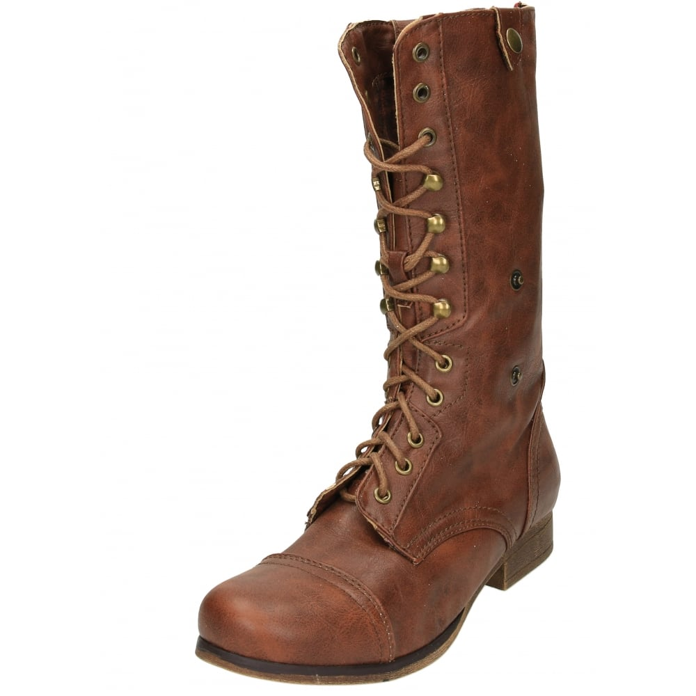jeffrey d flat boots combat lace up zip mid calf