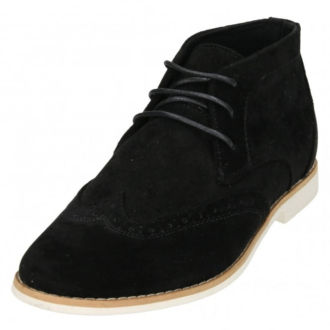 Jenny Wren Footwear Mens Brogue Faux Suede Lace Up Desert Ankle Boots