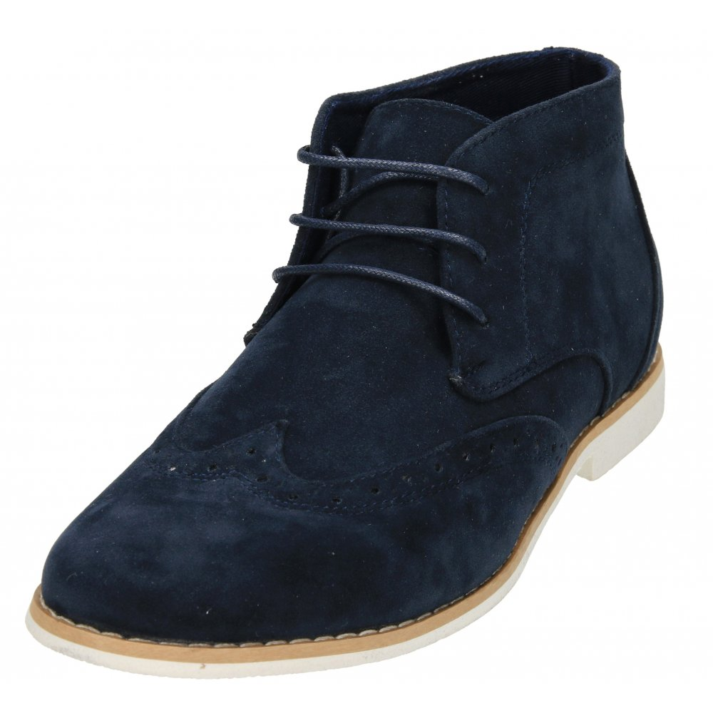 87372326576d Jenny Wren Footwear Mens Navy Blue Brogue Faux Suede Lace Up Desert Ankle  Boots - Men s Footwear from Jenny-Wren Footwear UK