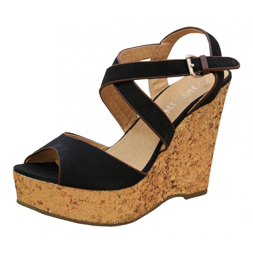 d7972680a3c Black Gold Glitter Wedge High Heel Platform Peep Toe Strappy Sandals Shoes