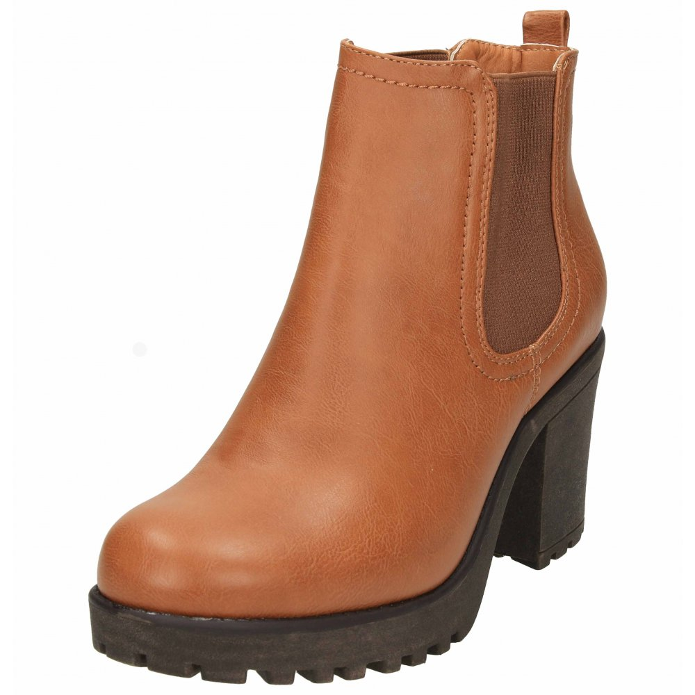 jwf ankle boots faux leather pull on block high heel