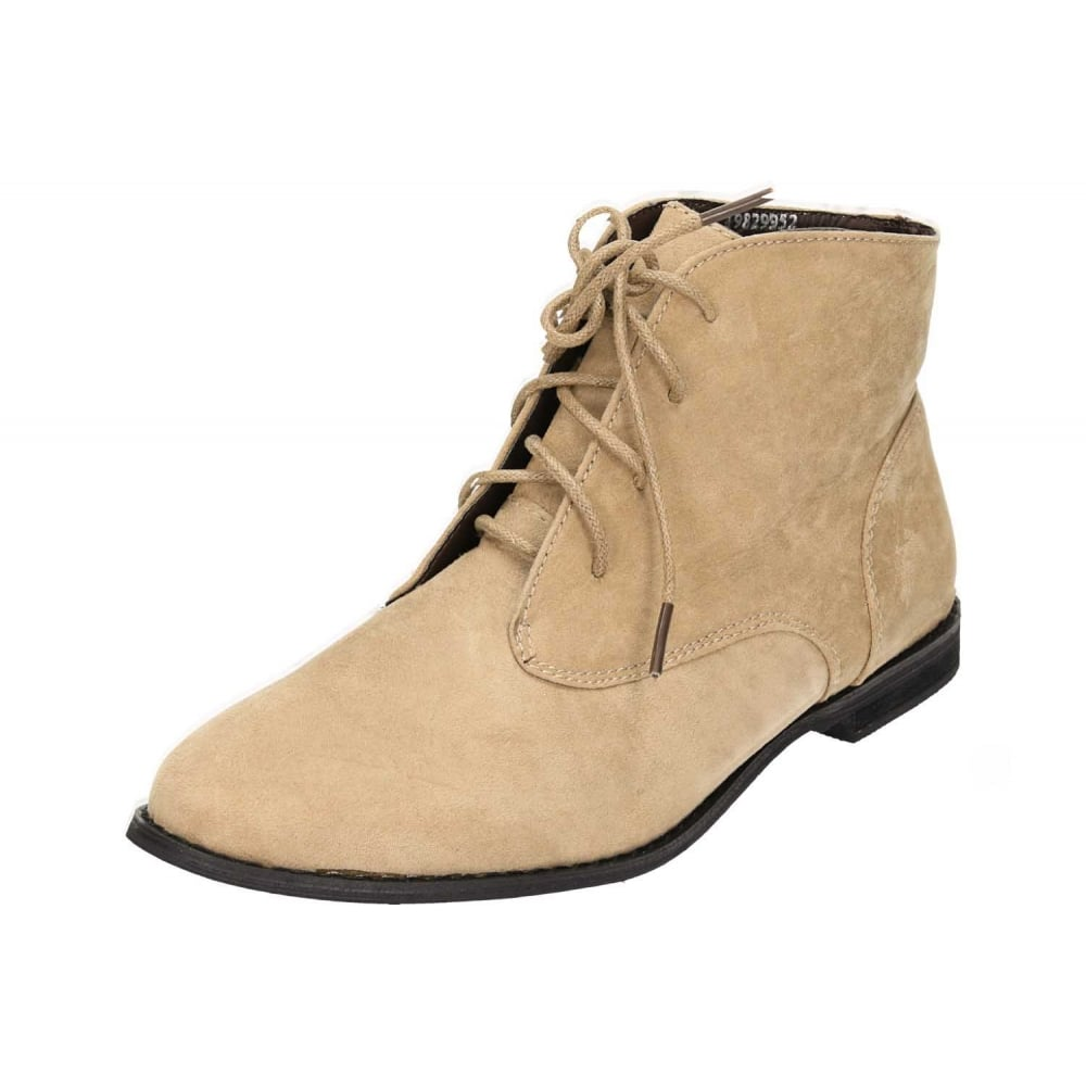 63707a6b7418 JWF Beige Faux Suede Lace Up Flat Desert Ankle Boots - Ladies Footwear from  Jenny-Wren Footwear UK
