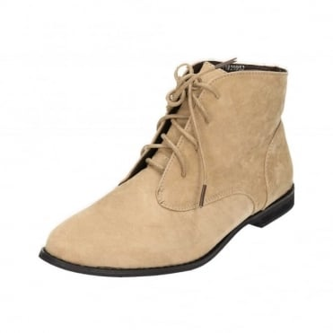 Beige Faux Suede Lace Up Flat Desert Ankle Boots
