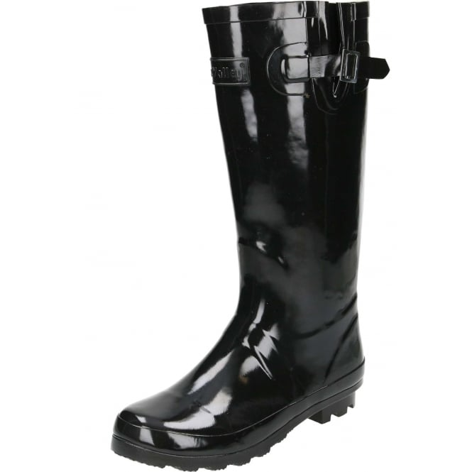 JWF Black Gloss Wellington Boots Flat Wellies