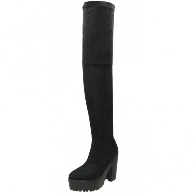 JWF Black Over The Knee High Chunky Heel Platform Stretchy Suede Boots