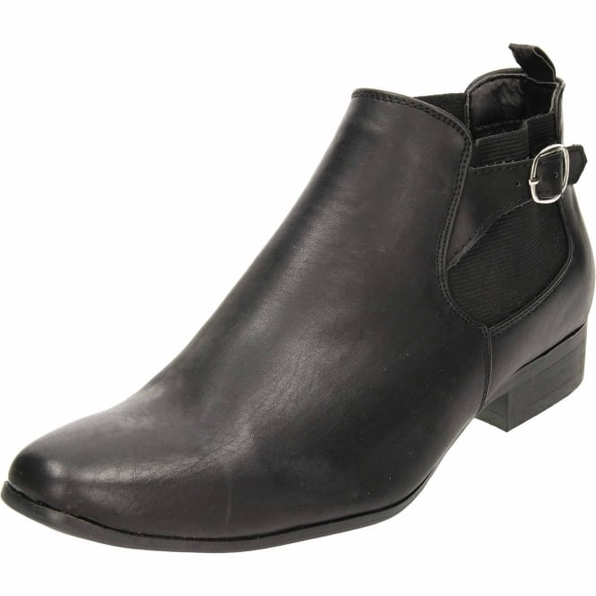 JWF Black Pull On Chelsea Ankle Boots