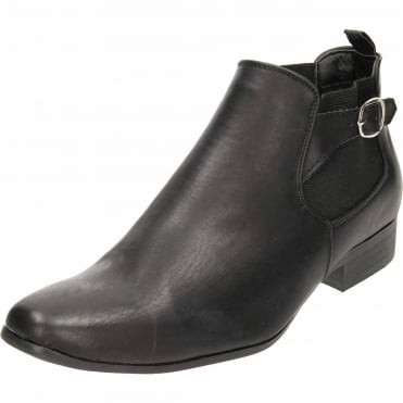 Black Pull On Chelsea Ankle Boots