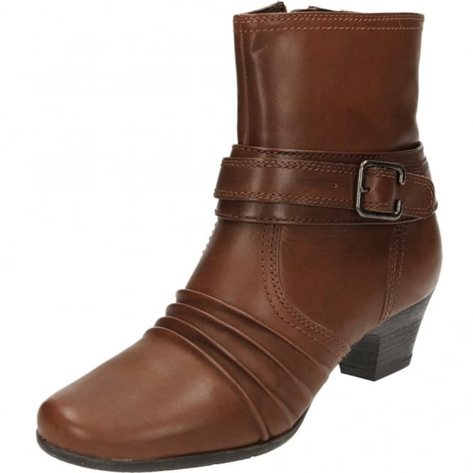 JWF Brown Real Leather Block Heel Ankle Victorian Boots