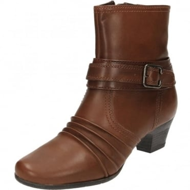 Brown Real Leather Block Heel Ankle Victorian Boots