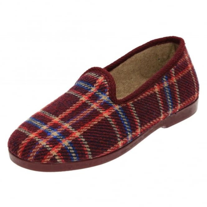 JWF Check Pattern Slippers Cosy House Shoes Rubber Sole