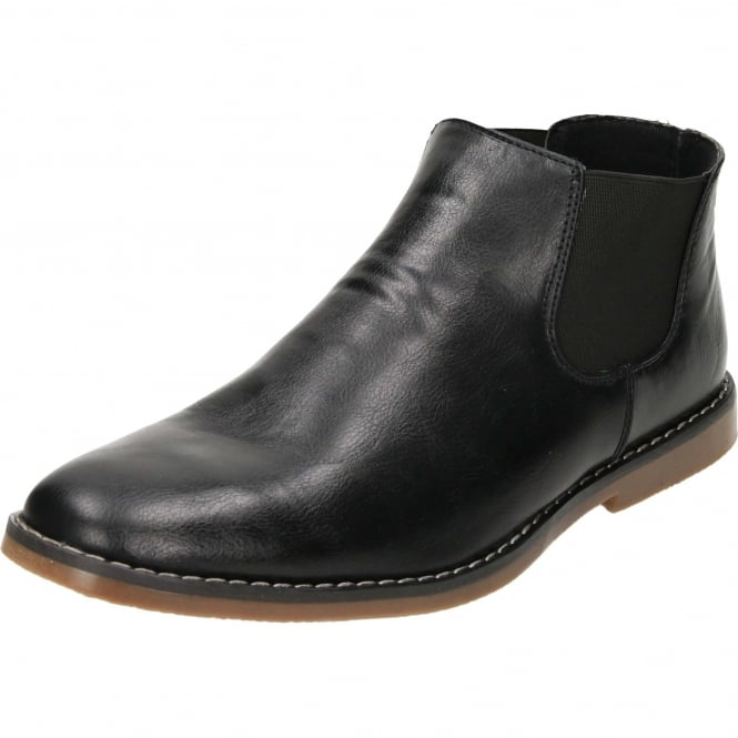 JWF Chelsea Desert Pull On Ankle Boots Black