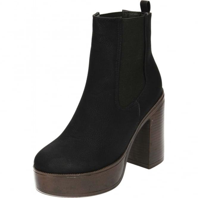 e109286af82 JWF Chunky Block Heel Platform Chelsea Retro 70s Ankle Boots Black