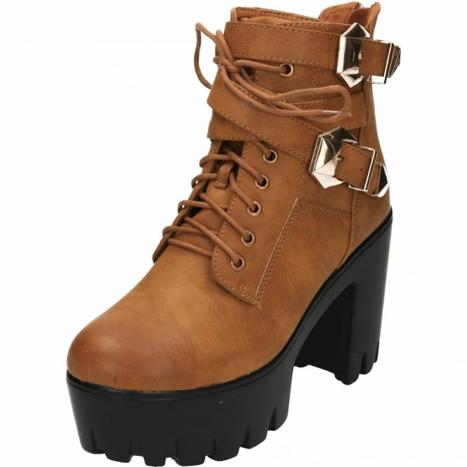 JWF Chunky High Heel Platform Lace Up Strappy Zip Ankle Boots