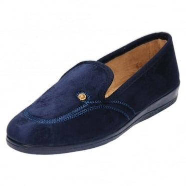 Cosy Blue Slippers House Shoes Rubber Sole