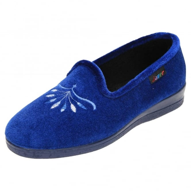 JWF Cosy Blue Slippers Raised Heel House Shoes Rubber Sole