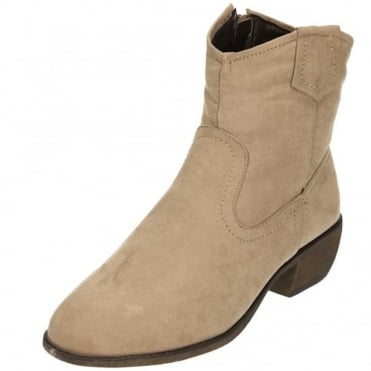 Cowboy Ankle Boots Low Heel Faux Suede Zip Up Beige