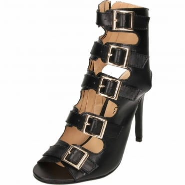 Cut Out Open Back Stiletto High Heel Peep Toe Ankle Boots Strappy Leather Style Shoes