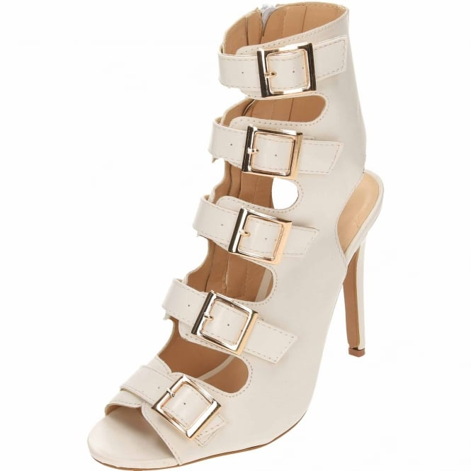 JWF Cut Out Open Back Stiletto High Heel Peep Toe Ankle Boots Strappy Leather Style Shoes