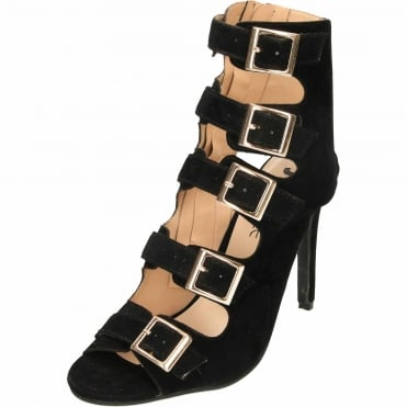 Cut Out Open Back Stiletto High Heel Peep Toe Ankle Boots Strappy Suede Style Shoes