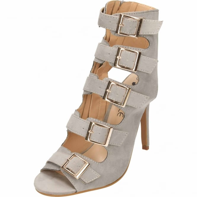 JWF Cut Out Open Back Stiletto High Heel Peep Toe Ankle Boots Strappy Suede Style Shoes