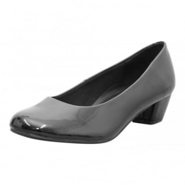 Faux Leather Low Heel Court Office Shoes