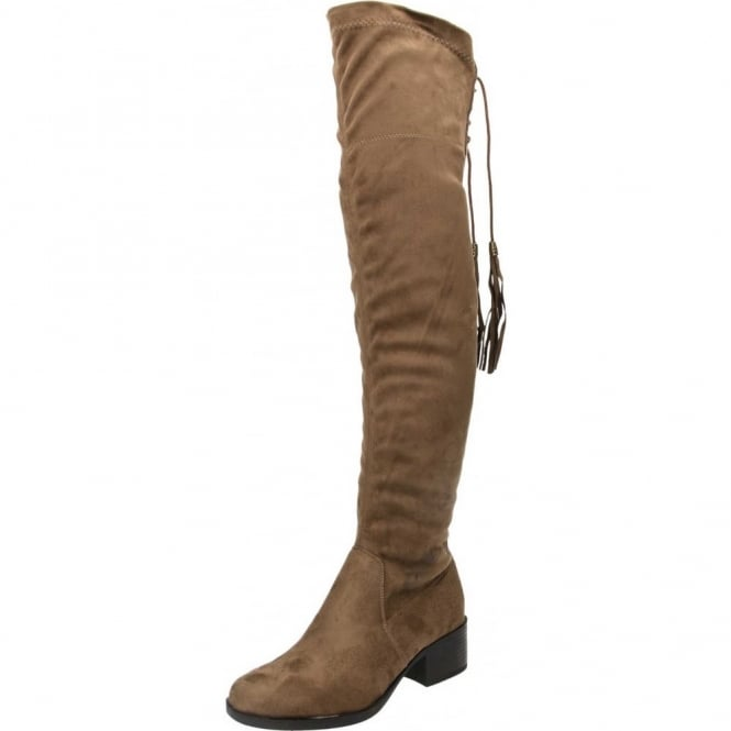 JWF Faux Suede Flat Over The Knee High Stretchy Heel Boots Brown