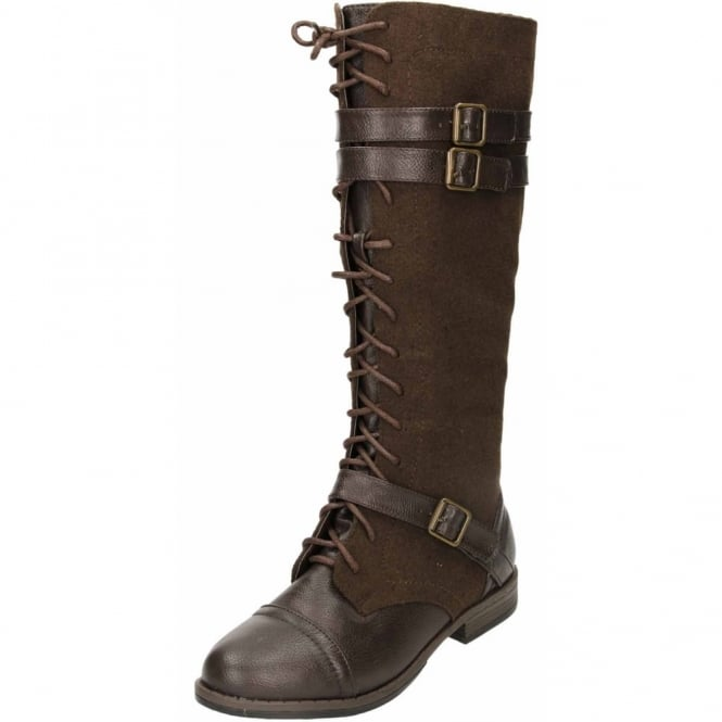 JWF Flat Boots Zip Up Lace Knee High Warm Lined