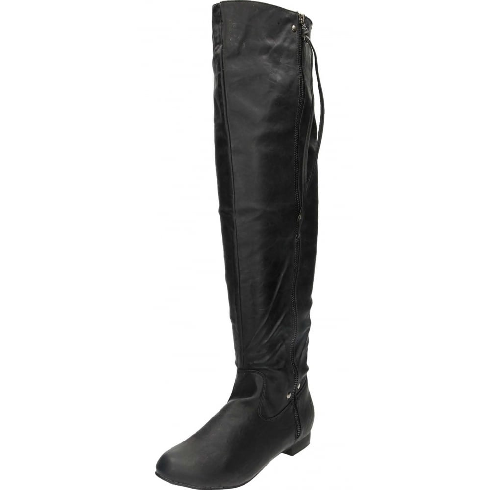 JWF Flat Faux Leather Over The Knee