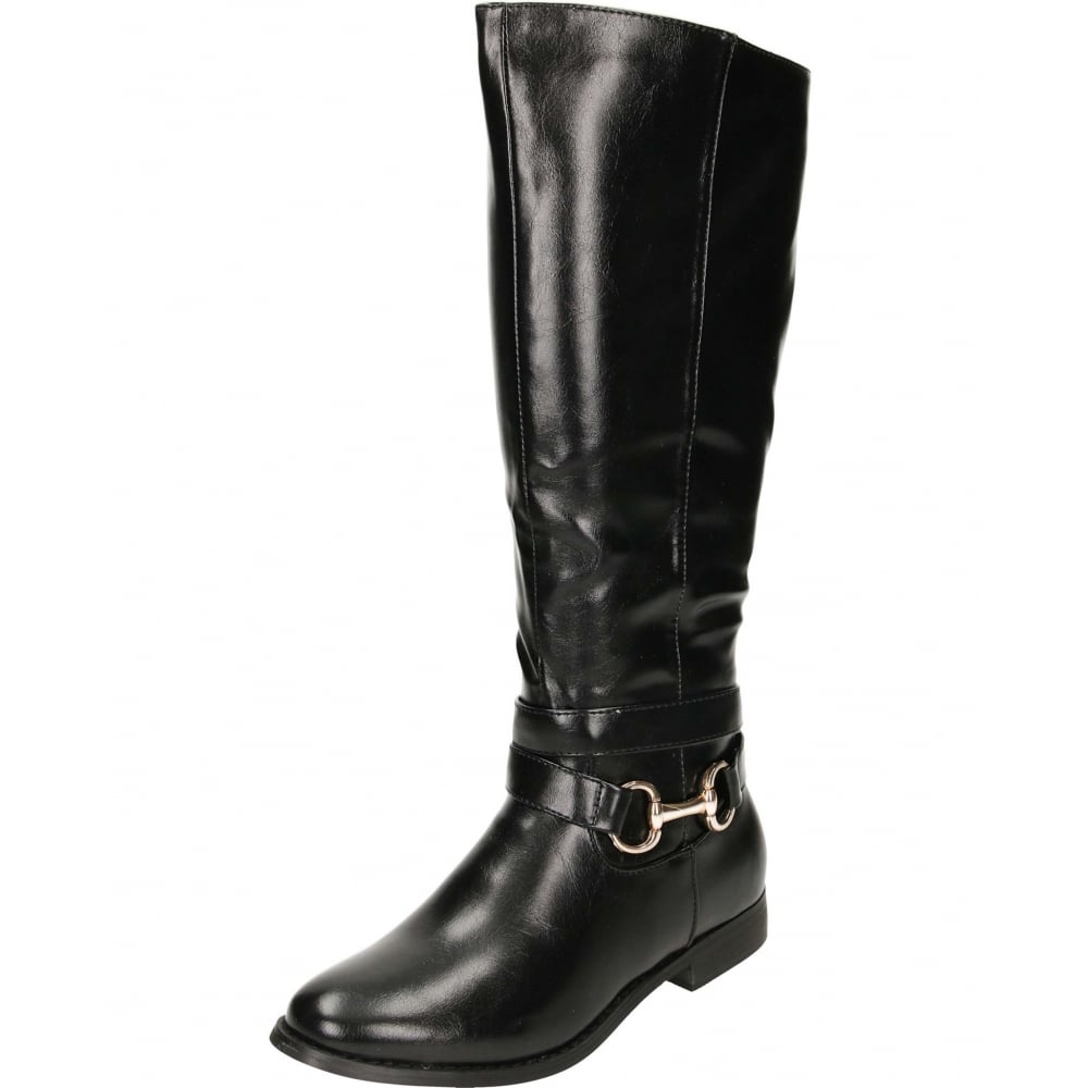 JWF Flat Leather Style Knee Buckle Strap Boots - Ladies Footwear ... 8a9a43f9468f