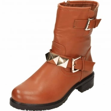 Flat Mid Calf Ankle Biker Boots Zip Up Stud Leather Style