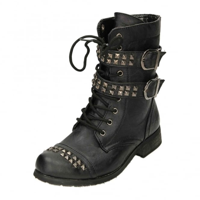 JWF Flat Mid Calf Ankle Boots Lace Up Zip Military Combat Stud