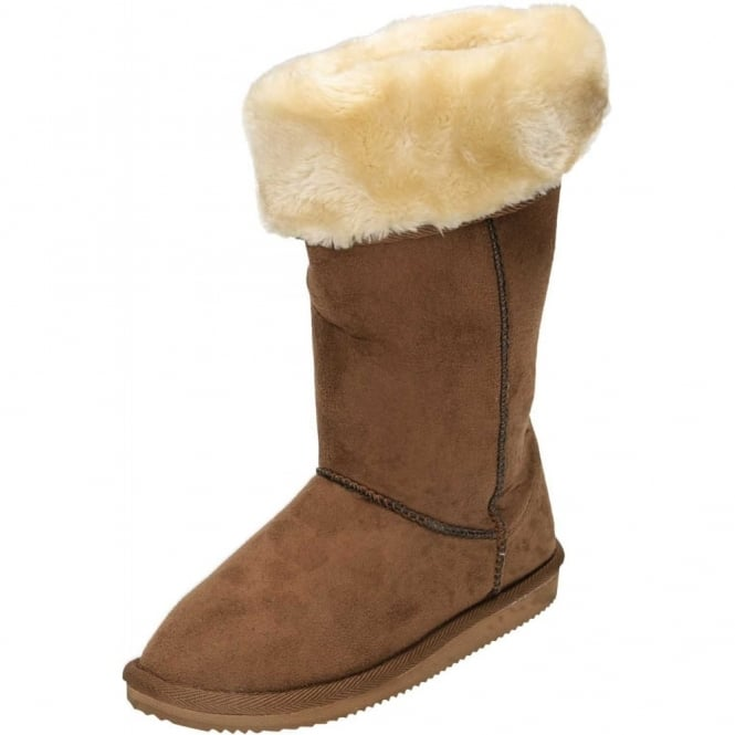 JWF Flat Mid Calf Warm Lined Faux Suede Pull On Boots