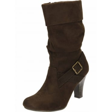 High Heel Brown Faux Suede Mid Calf Boots