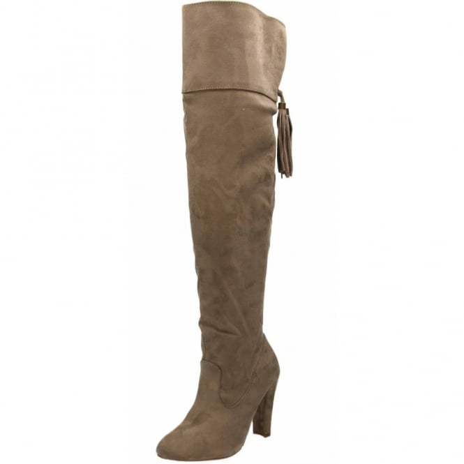 JWF High Heel Over Knee Tall Boots Taupe Suede Style