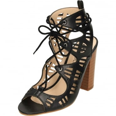 Lace Up Block High Heel Peep Toe Cut Out Sandals Shoes