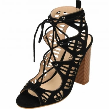 Lace Up Block High Heel Peep Toe Cut Out Sandals Suede Style Shoes