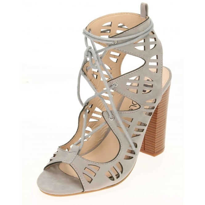 JWF Lace Up Block High Heel Peep Toe Cut Out Sandals Suede Style Shoes