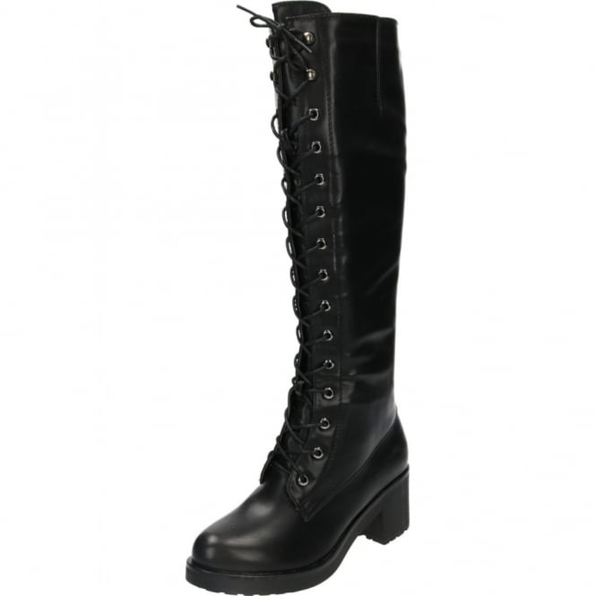 JWF Lace Up Boots Block Mid Heel Platform Knee High Gothic Punk Combat