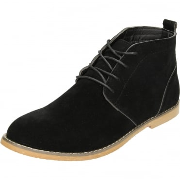 Lace Up Desert Ankle Boots Faux Suede Style