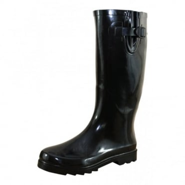 Ladies Black Gloss Wide Leg Wellington Flat Boots Wellies