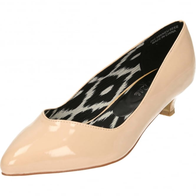 JWF Ladies Extra Wide Fit Patent Kitten Heel Court Shoes EEE