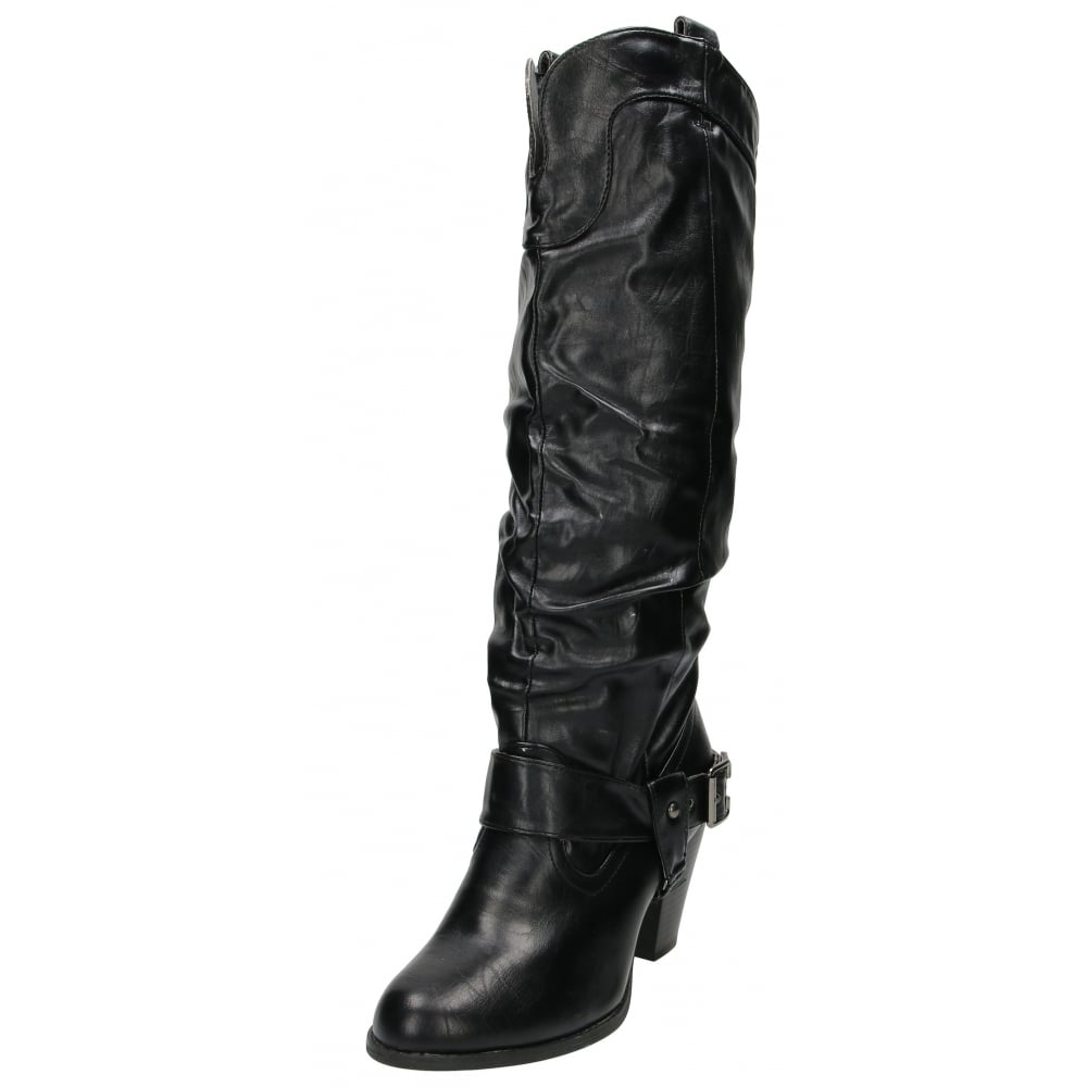 jwf faux leather knee high heel pull on boots