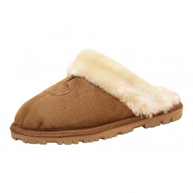 JWF Ladies Faux Suede warm Lined Slip On Cosy Slipper Mules