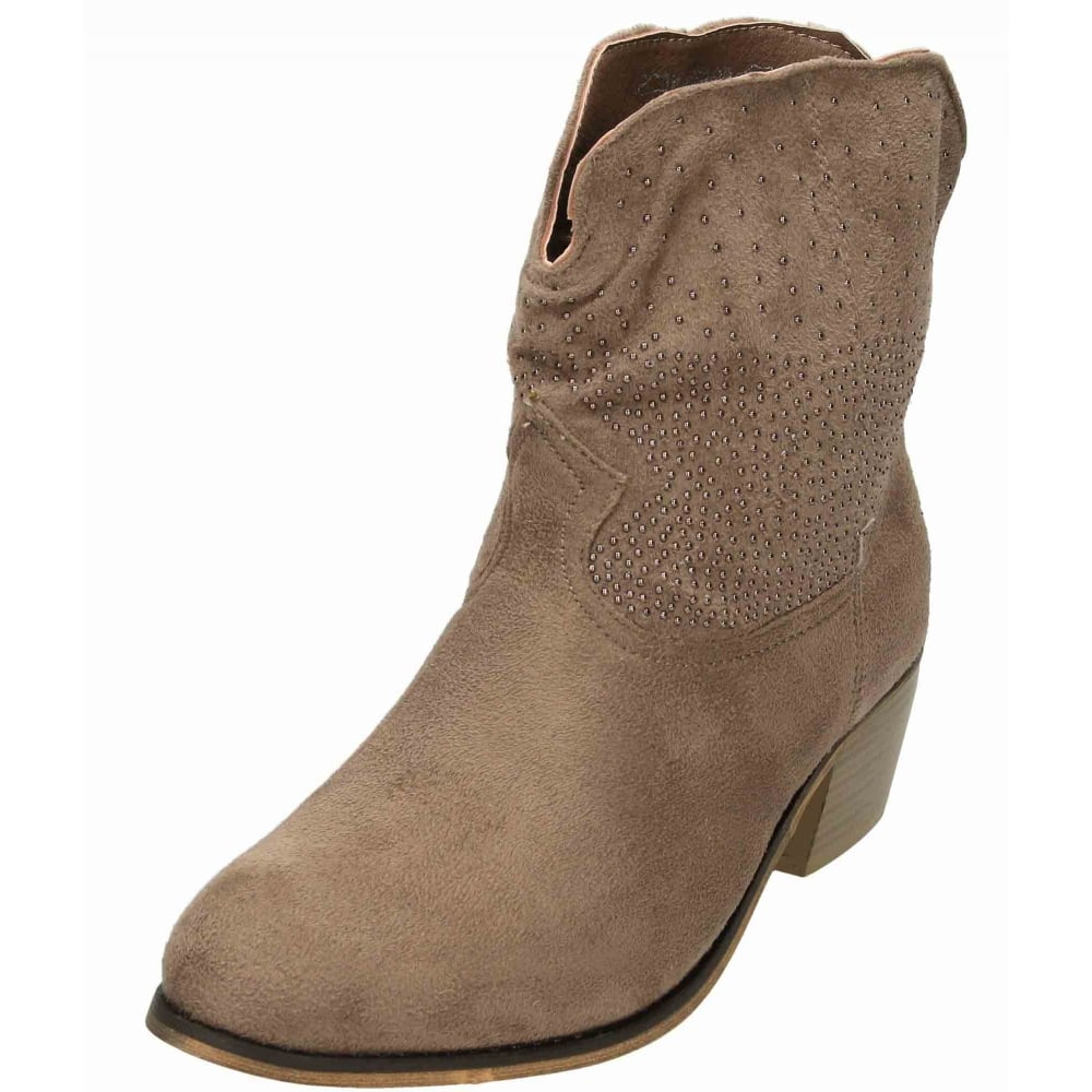 JWF Ladies Pull On Cowboy Ankle Boots