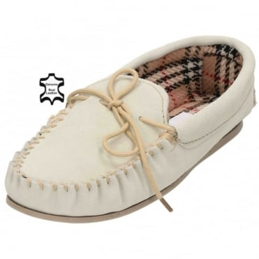 Ladies Real Suede Leather Moccasin Cosy House Slippers