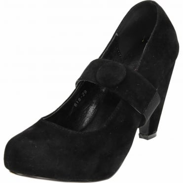 Mary Jane High Heel Platform Court Shoes Black