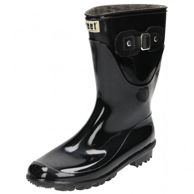 JWF Mid Calf Wellington Boots Black Gloss Wellies