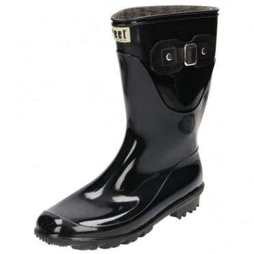 Mid Calf Wellington Boots Black Gloss Wellies