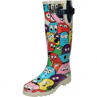 Multi Coloured Ghost Print Blob Wellington Boots